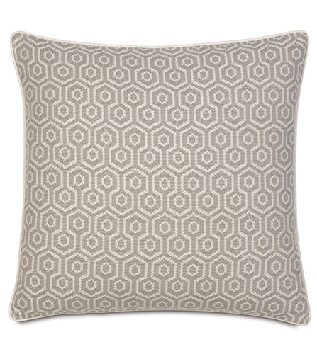 Gavin Neutral Mountain Resort Geometric Jacquard Euro Sham With Welt 27