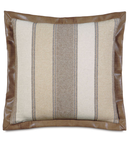Beige Mountain Resort Stripe Linen Euro Sham Faux Leather Flange 27