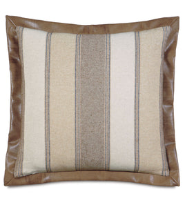 "Beige Mountain Resort Stripe Linen Euro Sham Faux Leather Flange 27""x27"""