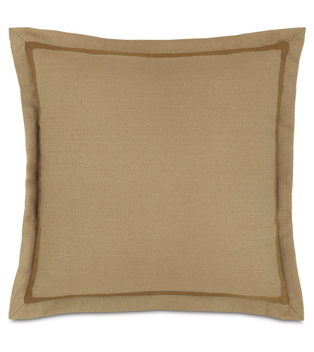 Tan Log Cabin Solid Euro Sham Self Flange 27