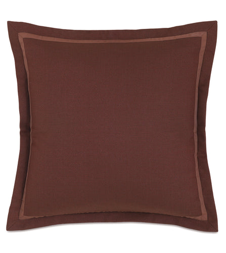 Chalet Alpine Bark Solid Burgundy Self Flange Euro Sham 27