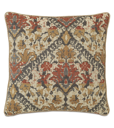 Chalet Alpine Bark Rustic Cabin Tribal Jacquard Euro Sham With Cord 27