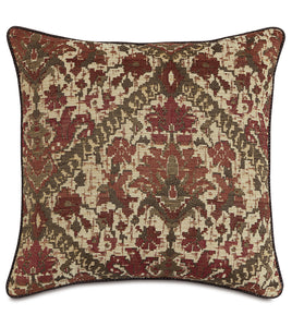 "Chalet Alpine Russet Tribal Textured Euro Sham With Cord 27""x27"""
