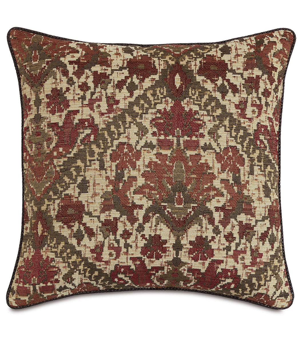 Chalet Alpine Russet Tribal Textured Euro Sham With Cord 27
