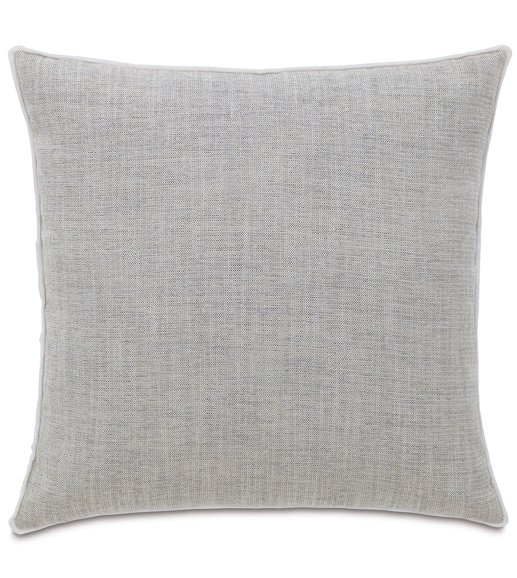 Light Gray Log Cabin Solid Jacquard Euro Sham With Cord 27