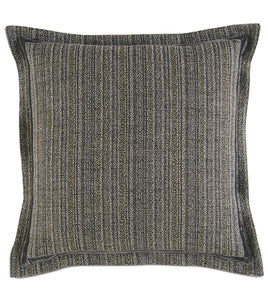 "Pebble Gray Lodge Striped Jacquard Euro Sham Self Flange 27""x27"""