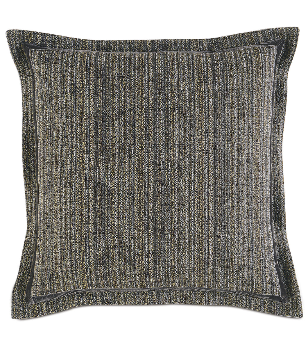 Pebble Gray Lodge Striped Jacquard Euro Sham Self Flange 27