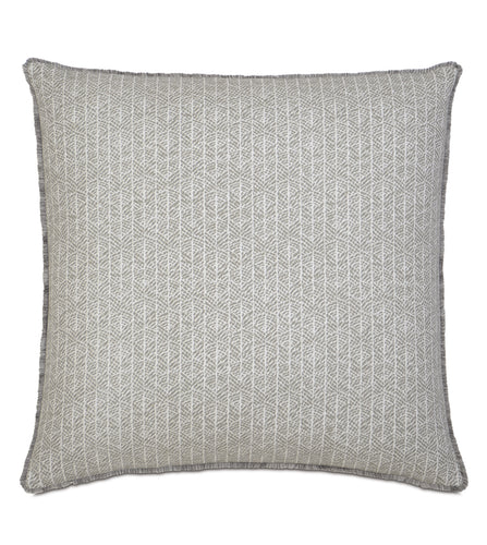 Arya Light Gray Rustic Cabin Tribal Euro Sham With Brush Fringe 27