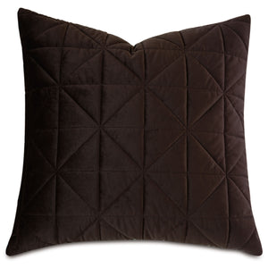"Chocolate Brown Geometric Washable Velvet Euro Sham 27""x27"""
