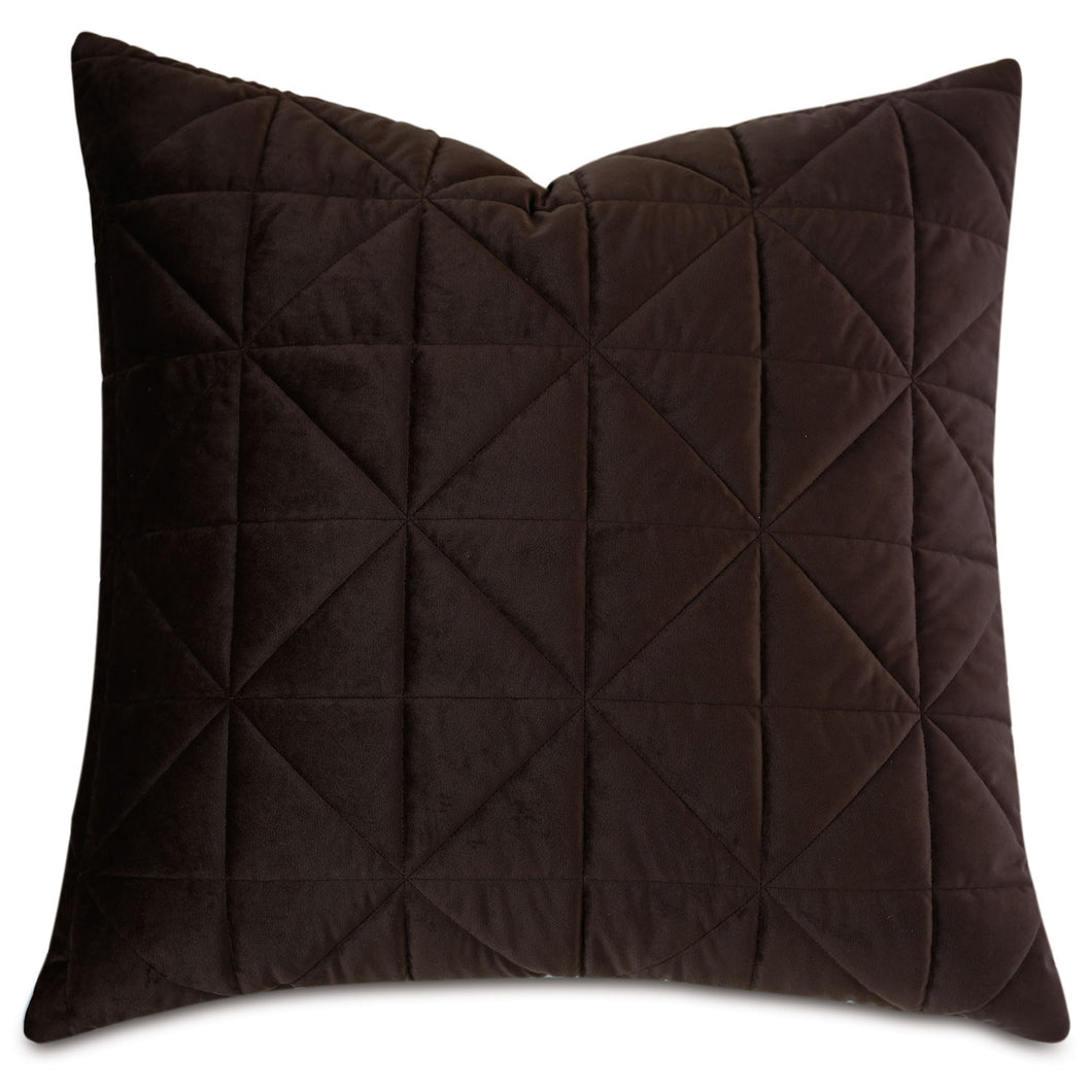 Chocolate Brown Geometric Washable Velvet Euro Sham 27