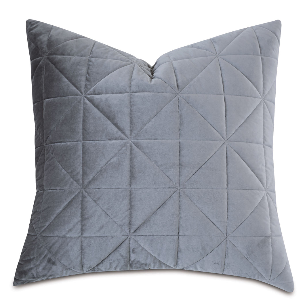 Gray Geometric Washable Velvet Euro Sham 27