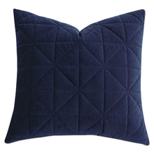 "Navy Blue Geometric Washable Velvet Euro Sham 27""x27"""