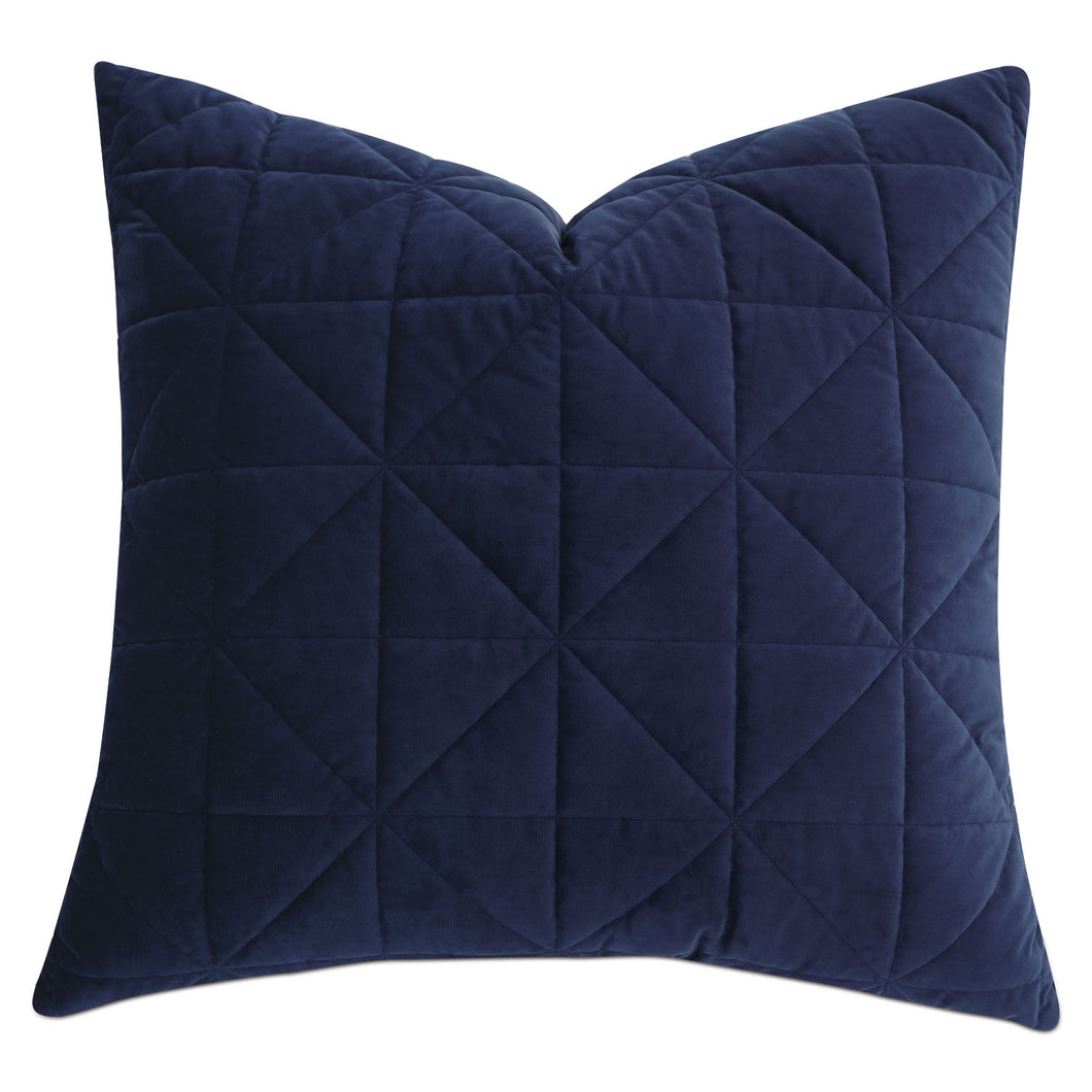 Navy Blue Geometric Washable Velvet Euro Sham 27