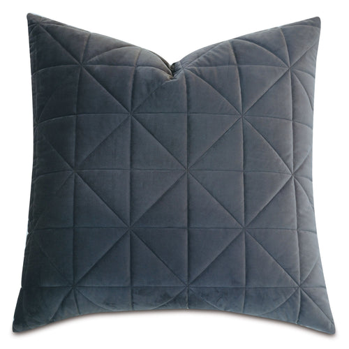 Dark Gray Geometric Washable Velvet Euro Sham 27