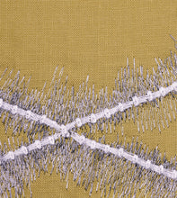 "Mustard Mountain Tribal Embroidered King Sham With Brush Fringe 21""x37"""