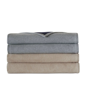 Hansel Gray/Navy Solid Flannel 100% Cotton Blanket