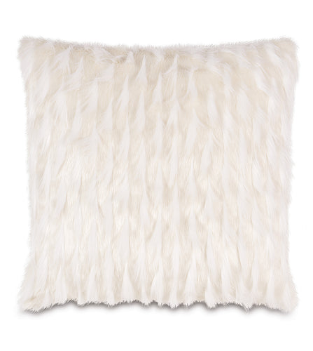 White Snow Mountain Faux Fur Throw Pillow Knife Edge 27