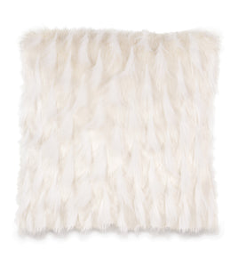 "White Snow Faux Fur Throw Pillow Knife Edge 20""x20"""