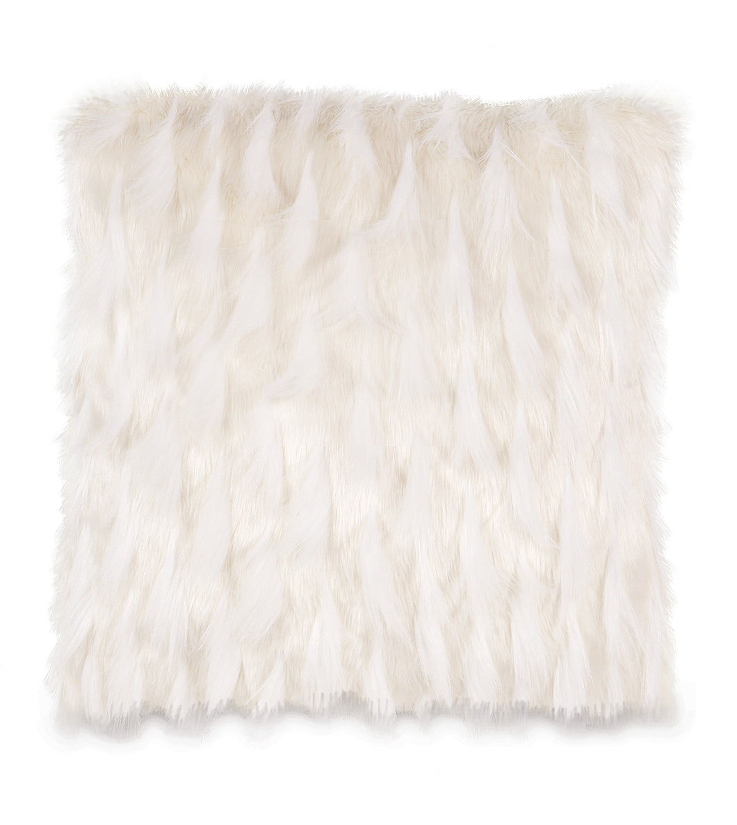 White Snow Faux Fur Throw Pillow Knife Edge 20