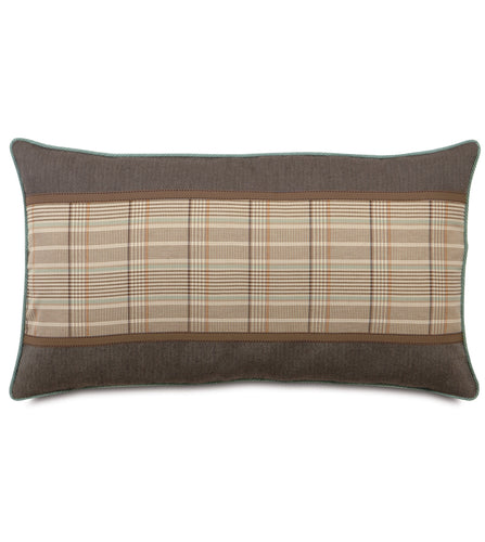 Kai Mocha Rustic Cabin Plaid King Sham With Ribbon 21