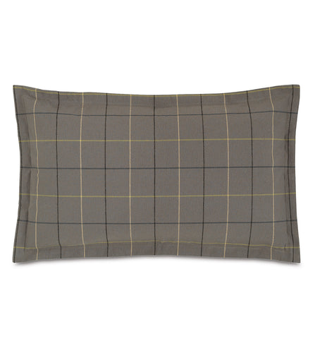 Chalet Alpine Slate Gray Plaid Log Cabin King Sham Self Flange 21