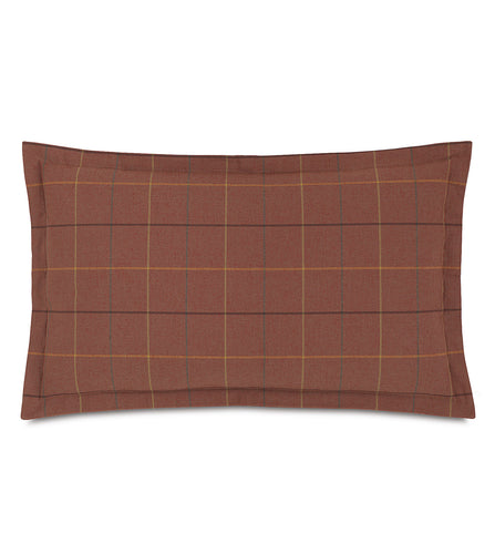 Donoghue Autumn Red Plaid Log Cabin King Sham Self Flange 21