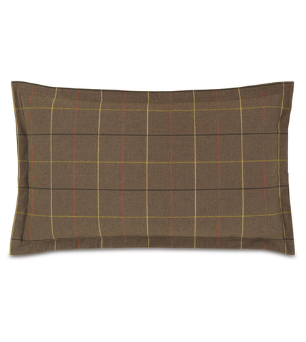 Donoghue Brown Plaid Log Cabin King Sham Self Flange 21