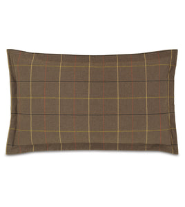 "Donoghue Brown Plaid Log Cabin King Sham Self Flange 21""x37"""