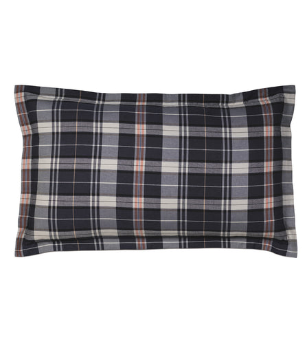 Scout Navy Blue Lodge Plaid Cotton King Sham Self Flange 21