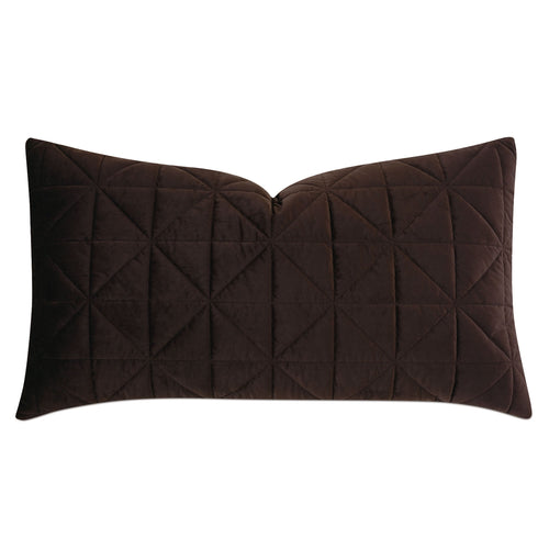 Chocolate Brown Geometric Washable Velvet King Sham 21