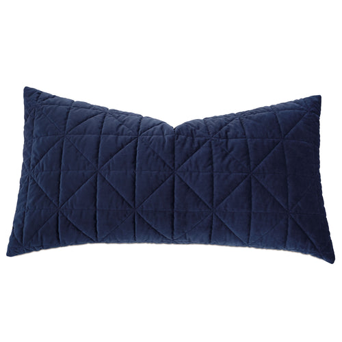 Navy Blue Geometric Washable Velvet King Sham 21