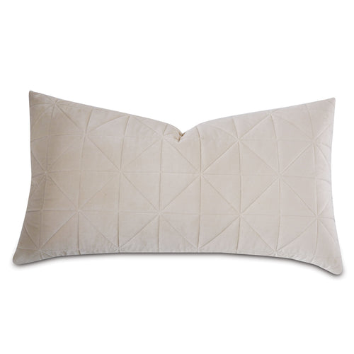 Ivory Geometric Washable Velvet King Sham 21