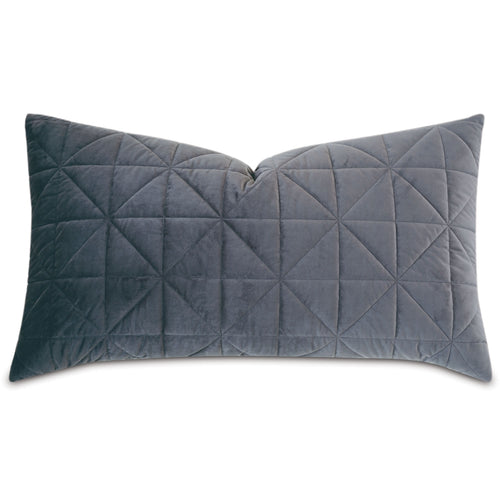 Dark Gray Geometric Washable Velvet King Sham 21