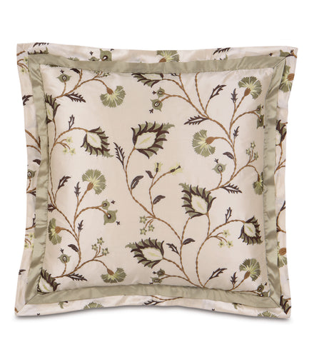 Champagne Mountain Botanical Dupioni Silk Throw Pillow 20