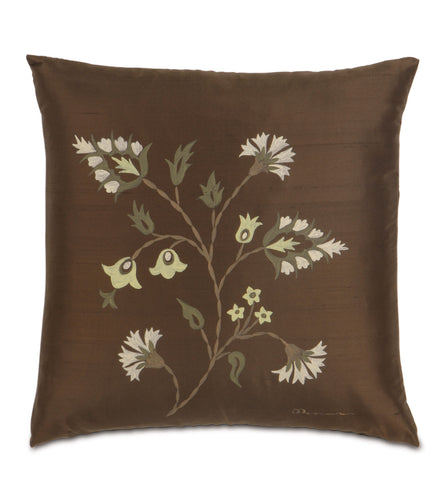 Brown Mountain Resort Hand Painted Botanical Duiponi Silk Throw Pillow  20