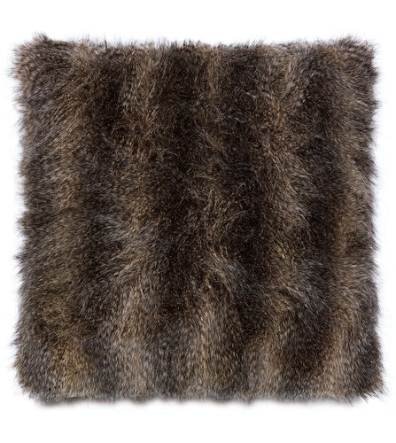 Oversized Mocha Mink Faux Fur Throw Pillow Knife Edge 27