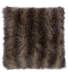 "Oversized Mocha Mink Faux Fur Throw Pillow Knife Edge 27""x27"""