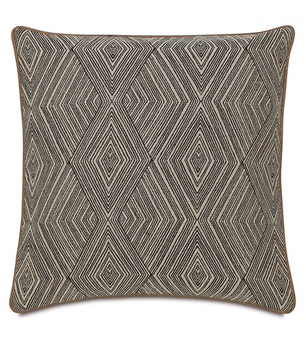 Tribal Diamond Mountain Beige Throw Pillow With Welt 24