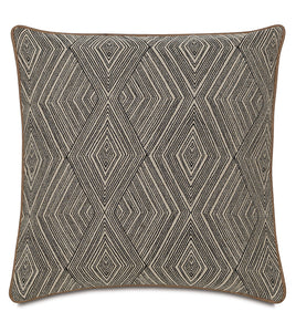 "Tribal Diamond Mountain Beige Throw Pillow With Welt 24""x24"""