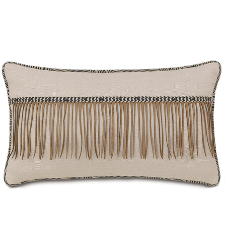 Tribal Fringe Lumbar Pillow With Brush Welt  13