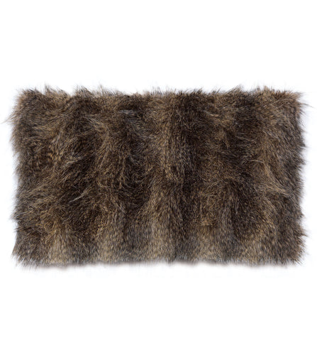 Mocha Mink Faux Fur Lumbar Pillow Knife Edge 15