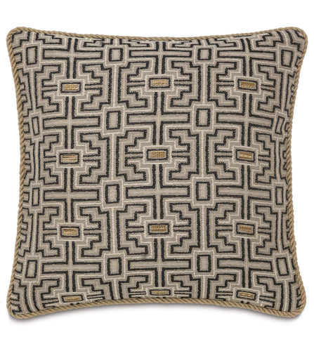 Tribal Mountain Beige Throw Pillow With Cord 22