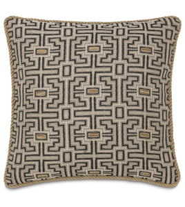 "Tribal Mountain Beige Throw Pillow With Cord 22""x22"""