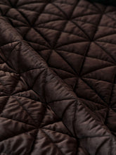 Chocolate Brown Geometric Lodge Washable Velvet Coverlet