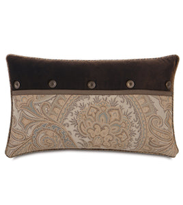 "Powell Paisley Button Accent Pillow in Brown 13""x22"""