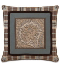 "Powell Border Plaid Applique Accent Pillow 24""x24"""