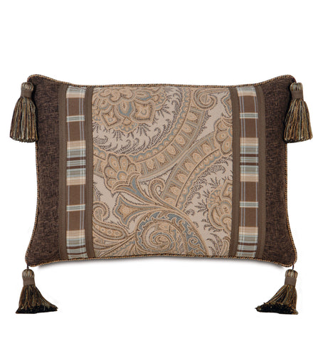 Powell Tassel Trim Paisley Accent Pillow in Neutral 16