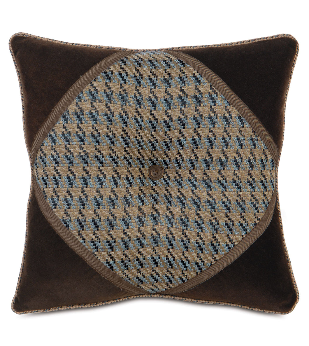 Powell Textured Button Cord Accent Pillow 18