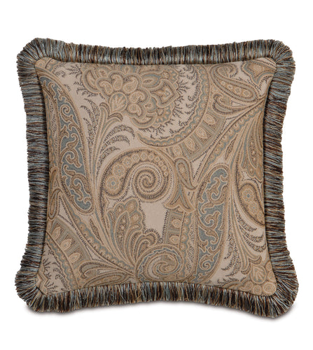 Powell Paisley Brush Fringe Accent Pillow 18