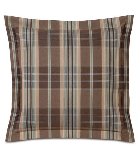 Powell Checkered Flange Accent Pillow in Multicolor 20
